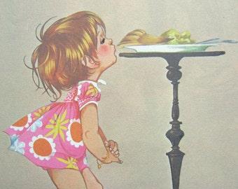 Baby Girl Nursery Room Art Print Book Page Illustration Beige Vintage Little Girl Decor
