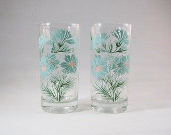 Vintage Floral Drinking Glasses. Ever Yours Boutonniere Pattern