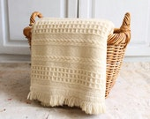 RESERVED . Aran chunky wool blanket throw fringed made in Ireland