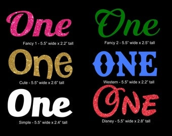 One birthday text iron on vinyl or glitter vinyl transfer DIY applique patch