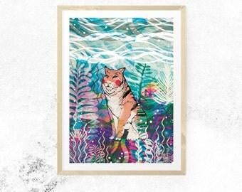 Dreamland Fine Art Print - Tiger Illustrated Artwork - Digital Print - Nature - Tropical Safari -Wildlife - Gift for Tiger Lovers