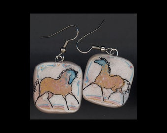 Horse Jewelry: Party Pony Earrings. Ink Drawing on Polymer Clay. Gold, Aqua, Pink Black and White. 4180
