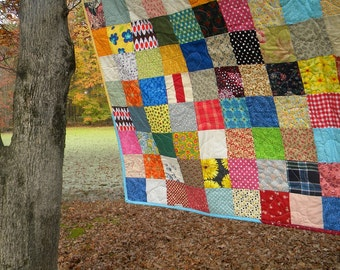 Funky Random Patchwork Quilt--picnic/double size--81X81--all cotton blanket