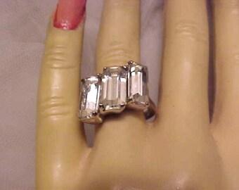 Vintage 1940s EISENBERG Original STERLING Ring & Plush Box  Sz 7 1/4