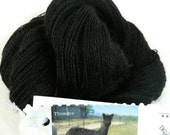 Yarn, Suri Alpaca/Merino 90/10, Natural True Black, Locally Raised,Thunder, 300yds