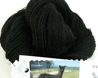 Yarn, Suri Alpaca/Merino 90/10, Natural True Black, Locally Raised,Thunder, 300yds