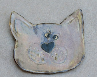 Cat Ceramic Spoon Rest - Jewelry Tray - Soap Dish. White and Gray KITTY Stoneware Dish. Handmade Ceramics.