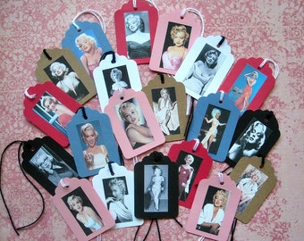 Marilyn Stickers or Tags- YOUR CHOICE of sets Marilyn Monroe photographs iphone laptop stickers Marilyn jewelry stickers domino tile sticker