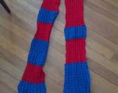 SALE hand knit scarf in red and blue long ski doctor who