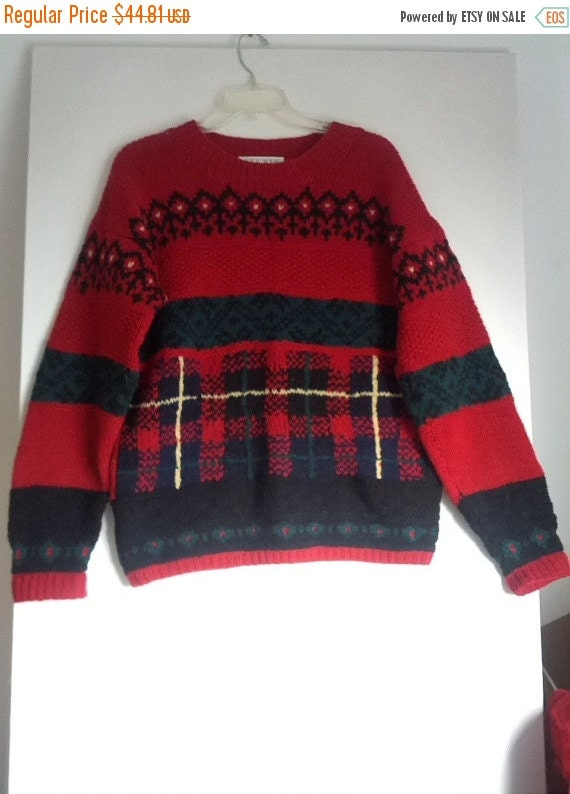 Knitting Holidays Shetland : Flash sale s plaid tartan holiday sweater jumper by