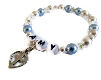 Holy communion bracelet religious stretch confirmation personalized charm bracelet blue pearls sparkly swarovski elements girls jewelry