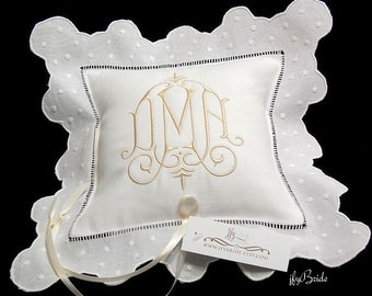 Ring Bearer Pillow, Monogram Wedding Ring Pillow, White Irish Linen Ring Cushion, Custom Personalized Ring Bearer Pillow, Style 6289