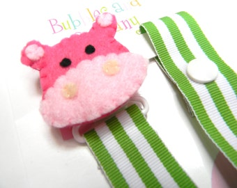 girl pacifier clip - pacifier clip - hippo pacifier clip - pacifier holder, hippo baby gift - binky clip - binky holder