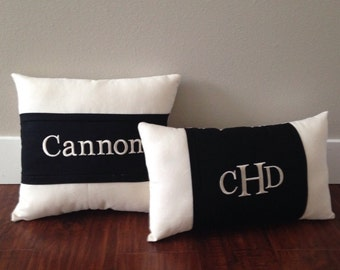 Black and white personalized throw Accent pillow set