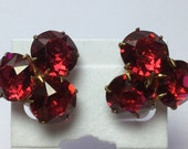Art Deco RED Crystal Clip on Earrings