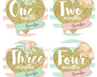 FREE GIFT, PERSONALIZED Baby Girl Monthly Stickers, Baby Girl Month Stickers, Gold Heart, Pink, Mint, Gold Nursery Decor,  Watercolor Flower