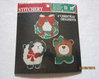Vintage STITCHERY Christmas Ornaments Kit #1404 Lamb,Wreath,Bear