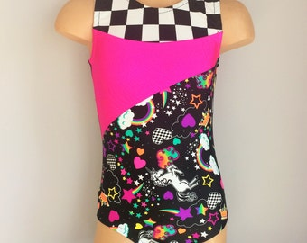 Unicorn Gymnastics Dance Leotard with  Pink and  Checkerboard Insert. Toddlers Girls gymnastics Leotard. Dance Costume. SIZES 2T - Girls 12