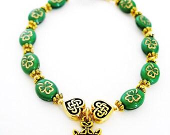SHAMROCK IRISH Rosary Celtic Knot Single Decace Irish Bracelet