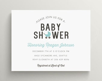 bold baby buggy // baby shower invitation set // baby carriage // modern // simple // stroller // gender neutral // sprinkle // sip and see