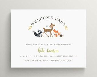 woodland friends baby shower invitation set // kids birthday invitation // woodland creatures // raccoon // fox // hedgehog // note card