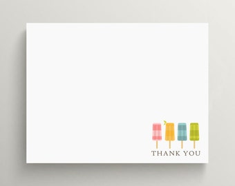 ice cream popsicle note card set // thank you note // personal stationery // baby shower // birthday // ice cream party // kids stationery