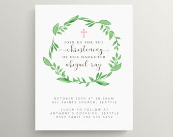 simple wreath // baby christening invitation // baptism // baby announcement // gender neutral // note card // new baby // floral // cross