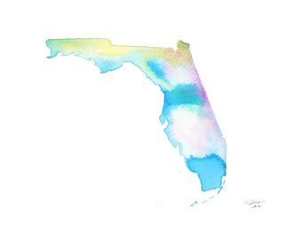 Florida, print from original watercolor illustration, from the Painting the 50 States series by Jessica Durrant