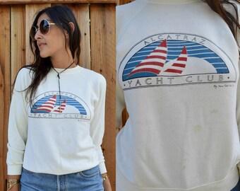 Vintage 80s ALCATRAZ Yacht Club Novelty SOUVENIR Sweatshirt Xs S