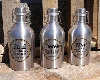 Personalized Growler, Beer Groomsmen Gift - 64 oz Stainless Steel Growler, Beer Growler, Refillable Beer Jug - Custom Gift for Beer Geek