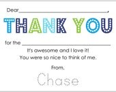Fill-In Thank You Notes for children in blues and green- set of 12 personalized notes and envelopes