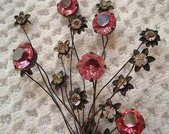 Sterling Silver Vintage Old ( 1930's) PIN Large Pink Rhinestones Floral Spray