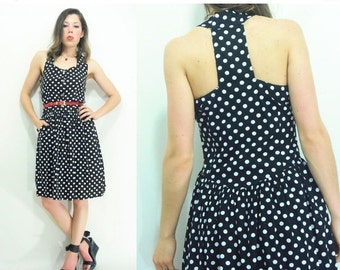 50% OFF SALE... T Back 80's Vintage Black Polka Dot Dress / Racerback Dress / Full Skirt Midi Sundress