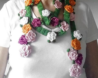 Crochet  Scarf Pattern, Wrap Scarf, Flowers Scarf Pattern, Lariat Scarves, Spring flowers Garden Scarf,  Download PDF, DIY Crochet Scarf