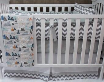 Baby Boy  Nursery Bedding , Crib Set ,  Max's Mountains   , Adventure  , Baby Bedding , Crib Bedding
