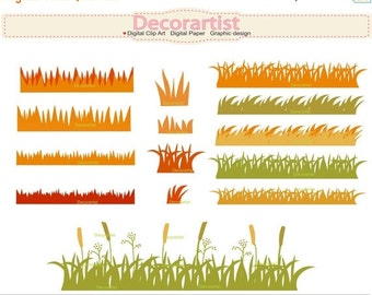 ON SALE autumn grass clipart, grass border clipart , card making, autumn border clipart , INSTANT Download