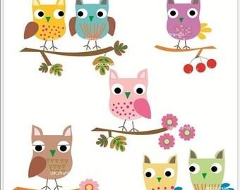 Autumn Owls Branch Clip Art // Doodle Owl Clip Art 2, Cute Owls, Owl Branch, Owls Branches, Doodle Owls,Instant Download