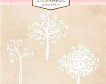 ON SALE tree clipart ,silhouette tree clipart, white tree, instant download Digital clipart, trees clipart