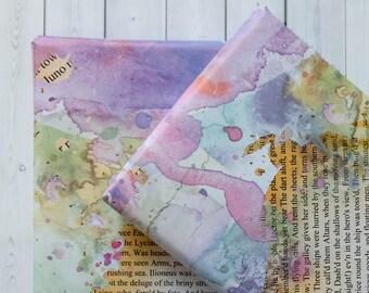 Wrapping Paper Sheets - Gift Wrap - Purple Wrapping Paper - Girls Wrapping Paper - Book Page And Purple Watercolour Blot Design