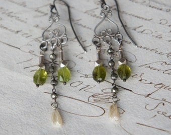 Antique Assemblage Earrings with Peridot Gemstones, Antique Glass and Silver