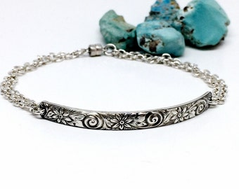 Cuff bracelets for women - silver and black - silver - cuff bracelet - flower