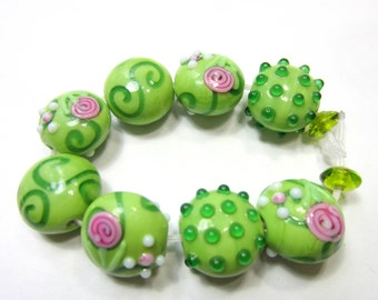 10Lampwork Beads  green w roses 10mm x 20mm  SB2