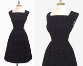 Vintage 1950s Black Velvet Embroidered Full Skirt Cocktail Party Dress S