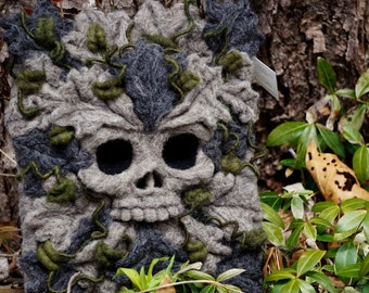 Needle Felted One of a kind Stone Skull Soft Sculpture by Bella McBride Greenman or Hunky Punk