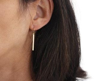 Gold Skinny Bar earrings - minimal and modern gold danglys