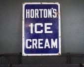 Antique Horton's Ice Cream Porcelain Sign  / New York City Ice Cream