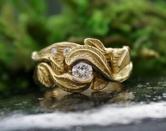 Wedding and Engagement Ring Set, Women, Diamond, 18k Yellow Gold, Leaf Wedding Ring, Twig, Bridal Sets, Branch