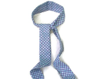 Skinny Scarf Lavender Blue Check , Fashion Scarf, Fall Trend, Fabric Necklace