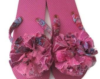 Decorated Flip Flops Mauve/Pink Pool Beach Summer