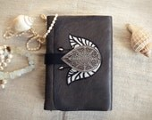 silver gray leather journal, vintage style journal with parchment old pages - The most wonderful night of a lily